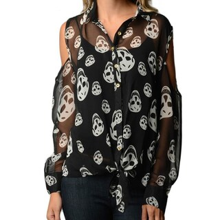 Women's Skull Print Plus Size Chiffon Shirt