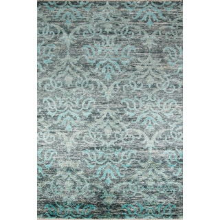 Artiste Hand-Knotted Grey Damask Rug (8'9 x 11'9)