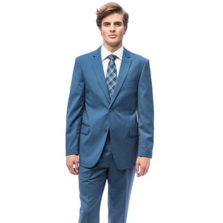 Men's Cobalt Blue Polyester Single-breasted Suit