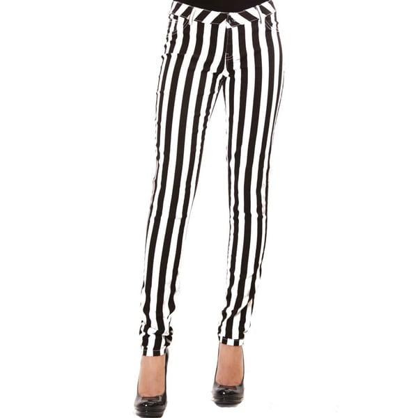 Women's Black and White Stripe Pants 18346161