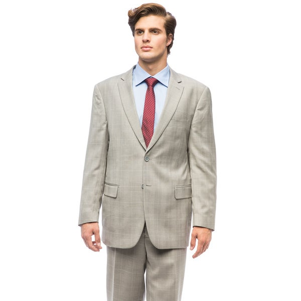 Men's Blue Polyester/Viscose Single Breasted Suit