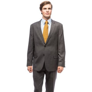 Men's Grey Polyester/Viscose Single-breasted Suit