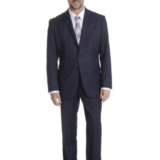 Daniel Hechter Men's Navy Sharkskin Modern Fit Wool Suit