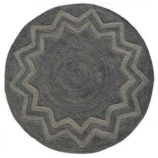 Venus Star Designer Round Hand-woven Braided Jute Rug (6' x 6')