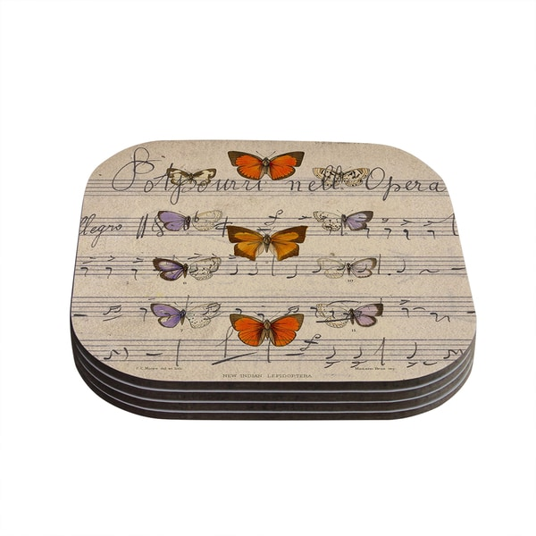 Kess InHouse Suzanne Carter 'Butterfly Opera' Music Tan Coasters (Set of 4)