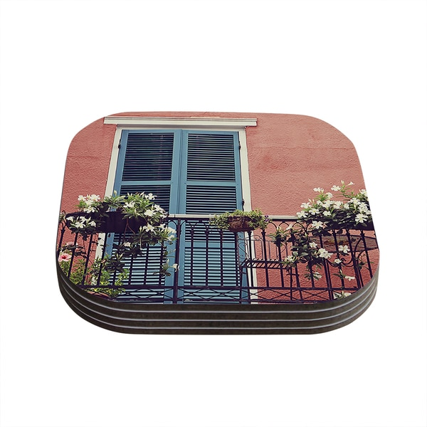 Kess InHouse Sylvia Cook 'New Orleans Balcony' Pink Blue Coasters (Set of 4)