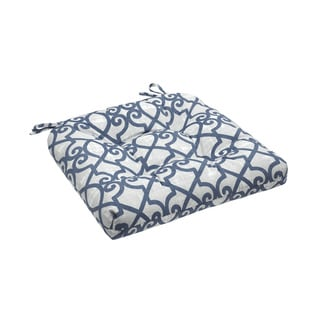 Madison Park Crystal Navy Printed Fretwork 3M Scotchgard Outdoor Cushion