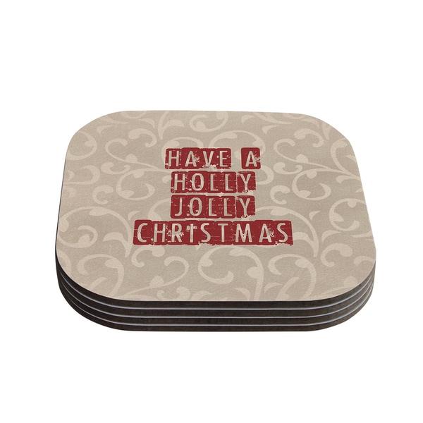 Kess InHouse Sylvia Cook 'Have A Holly Jolly Christmas' Holiday Coasters (Set of 4)