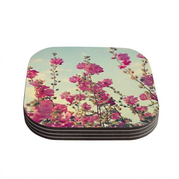 Kess InHouse Sylvia Cook 'Pink Lavatera' Flowers Sky Coasters (Set of 4)