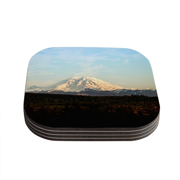 Kess InHouse Sylvia Cook 'Mt. Rainier' Mountain Photo Coasters (Set of 4)