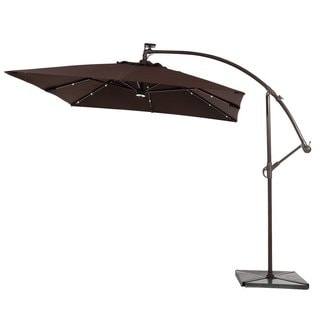 Abba Patio Brown 8-foot Square Outdoor Solar Powered 32 LED Cantilever Crank Lift Patio Umbrella With Base