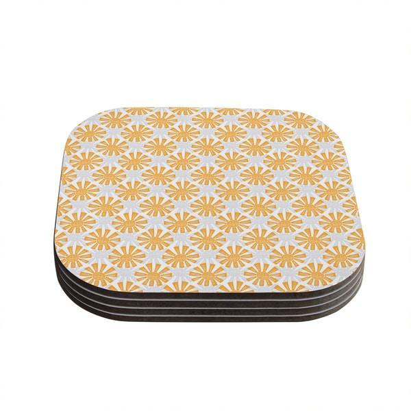 Kess InHouse Apple Kaur Designs 'Sunburst' Orange Gray Coasters (Set of 4)