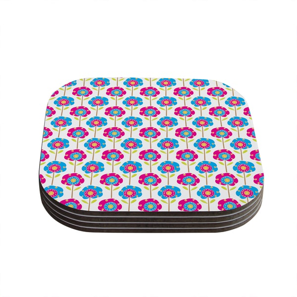 Kess InHouse Apple Kaur Designs 'Lolly Flowers' Blue Pink Coasters (Set of 4)