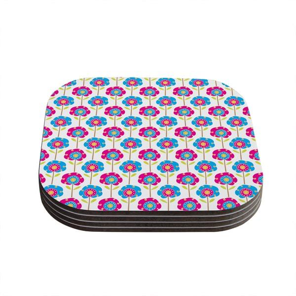 Kess InHouse Apple Kaur Designs 'Lolly Flowers' Blue Pink Coasters (Set of 4)