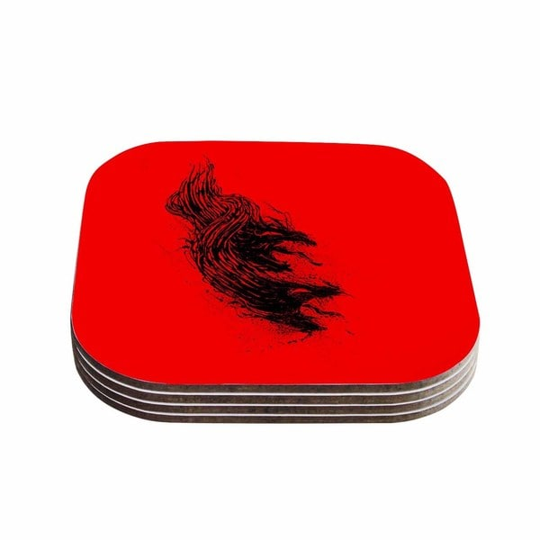 Kess InHouse BarmalisiRTB 'Came From Hell' Red Digital Coasters (Set of 4)