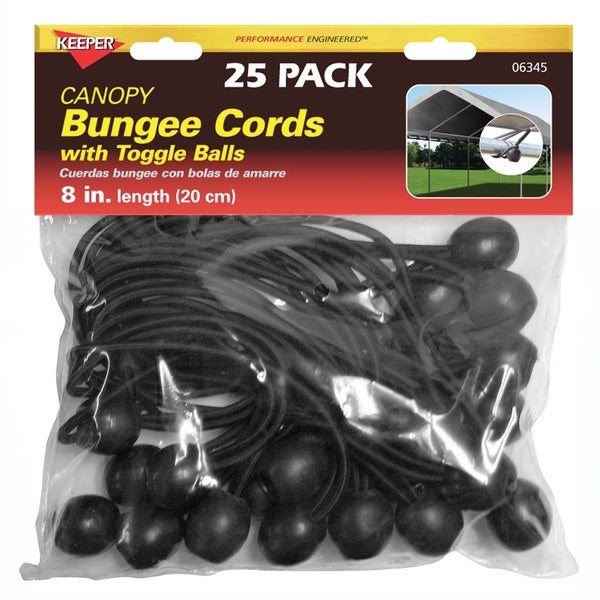 Keeper 06345 8-inch Canopy Bungee Cords With Toggle Balls
