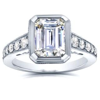 Annello 14k White Gold 2 4/5ct TCW Emerald Cut Moissanite and Round Diamond Bezel Ring (G-H, I1-I2)