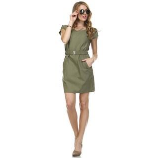 Tea n Rose Women's Cotton/Linen Blend Belted Shirt Dress