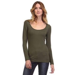 Spicy Mix Women's Teagan Ribbed Scoop-neck Long-sleeve Knit Top