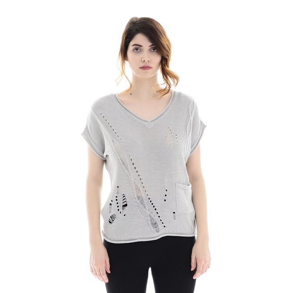 Trisha Tyler Womens Silver V-neck Hole Sweater Top