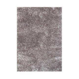Alliyah Grey Handmade Art-Silk Shaggy Rug (4' x 6')
