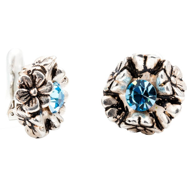 Dabby Reid Limited Edition Aqua Crystal Antique Clip Earring Handmade in New York Circa 1988