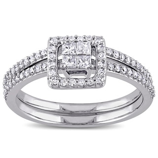 Miadora 10k White Gold 2/5ct TDW Princess-cut Diamond Halo Bridal Ring Set (G-H, I2-I3)