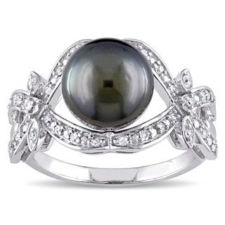 Miadora 10k White Gold Black Tahitian Pearl and 1/6ct TDW Diamond Vintage Infinity Cocktail ring (G-H, I2-I3)