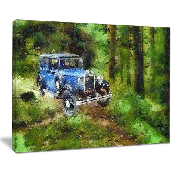 Designart - Dark Blue Vintage Car Oil Painting - Car Painting Canvas Print