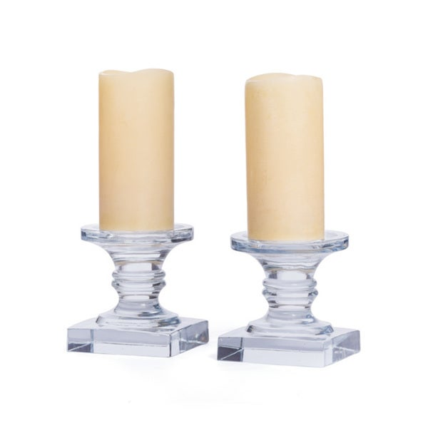 Hip Vintage Clear Glass Eleanor Candlestick Pair