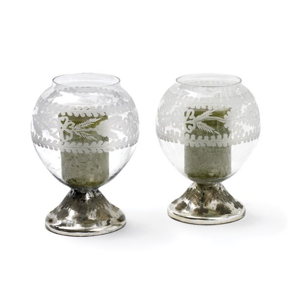 Hip Vintage Large Crystal Ball Candle Holders (Pair of Two)