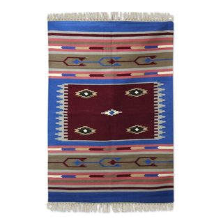 Handcrafted Wool 'Perfect Harmony' Dhurrie Rug 4x6 (India)