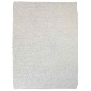 M.A.Trading Indo Hand-knotted Chenille White Rug (3' x 5'4)