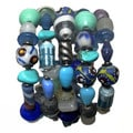 Trade Glass and Paper Bead Blue Wrap Bracelet