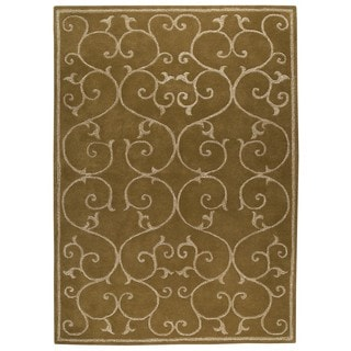 M.A.Trading Indo Hand-tufted Annapurna Olive Green Rug (5'6 x 7'10)