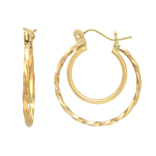 Sterling Essentials 14K Gold Double Hoop Twist Earring