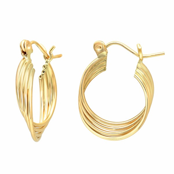 Sterling Essentials 14K Gold Layered Hoop Earring