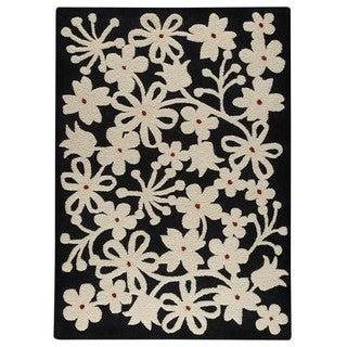 M.A.Trading Indo Hand-tufted Newport Charcoal/ White Rug (4'6 x 6'6)