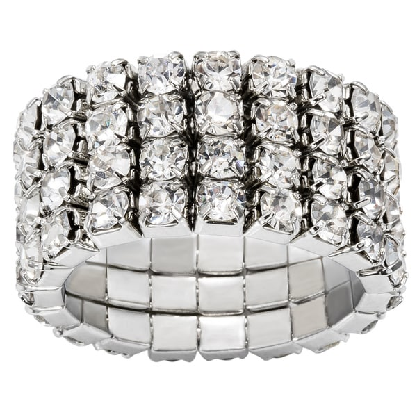 Silver-color Swarovski Crystal Four-layer Expandable Luxury-style Ring