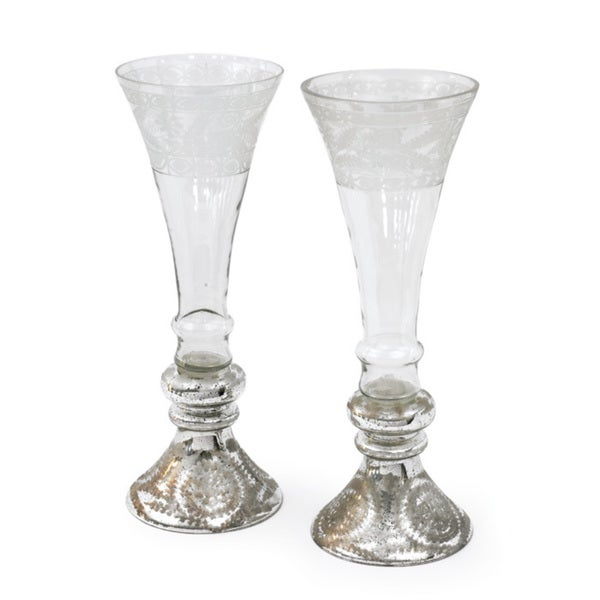 Hip Vintage Pair of Large Mercury and Glass Flutes