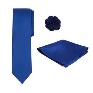 Men's XL 3-piece Tie, Hanky and Crepe Lapel Flower Set