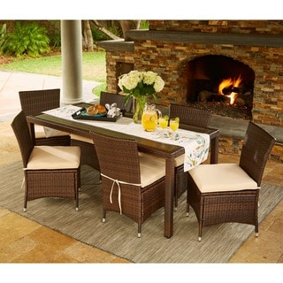 Portfolio Aldrich Brown Indoor/Outdoor 7-piece Rectangle Dining Set with Beige Cushions
