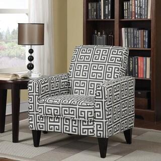 Portfolio Tia Charcoal Grey Greek Key Arm Chair