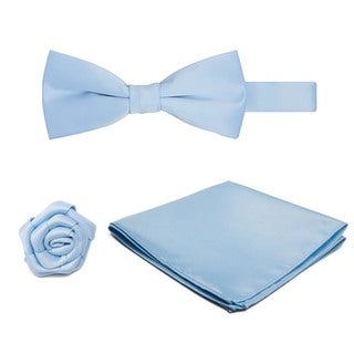 Pre-tied Banded Bowtie Hanky Open Rose Lapel Flower 3-piece Set