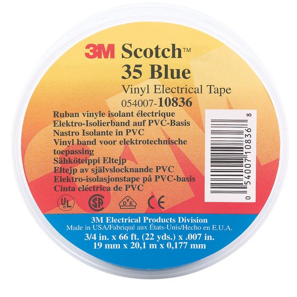 "3M 35 1/2"" X 20' Blue Scotch Vinyl Electrical Tape No. 35"
