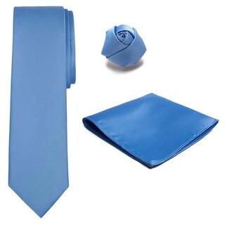 Jacob Alexander Men's Tie Hanky Rose Lapel Flower 3-piece Set
