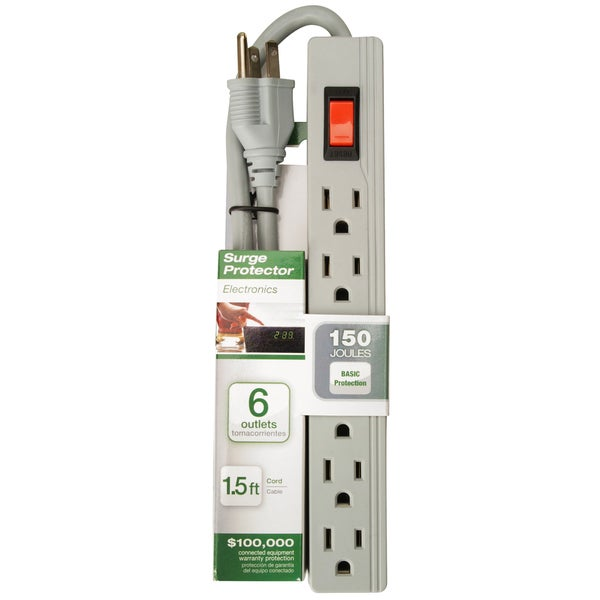 Woods 413518801 6-Outlet 150 Joules Lt Grey Surge Protector