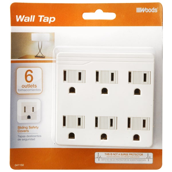 Woods 41150-88-21 6-Outlet White Front Entry Wall Adaptor