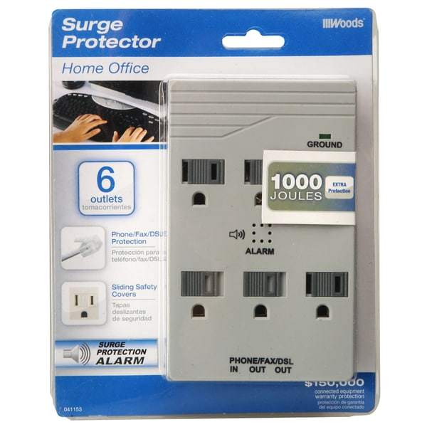 Woods 411538821 6-Outlet 1000 Joules Light Grey Surge Protector Wall Adaptor