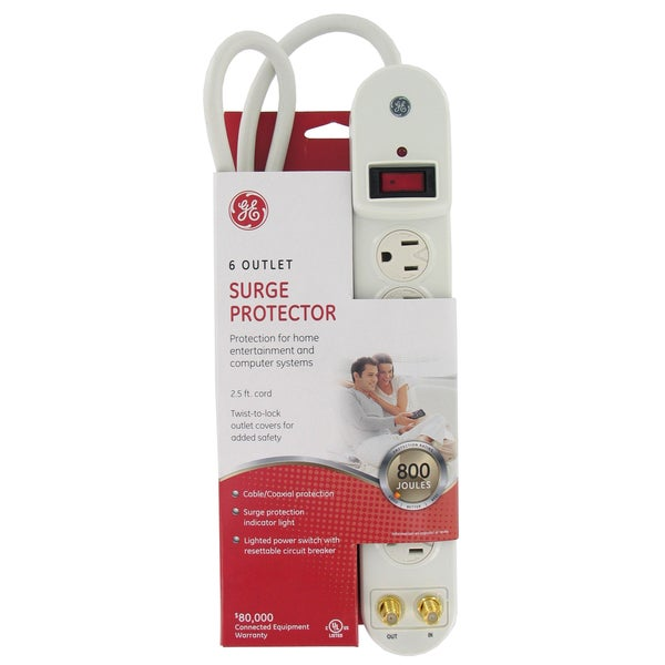 GE Jasco 14917 6-Outlet 800 Joules White Surge Protector W/Coax Protection